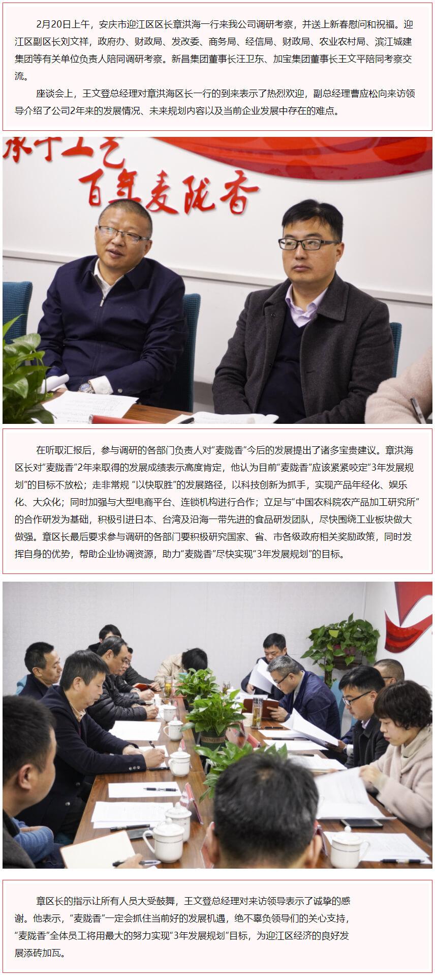"""迎江区区长章洪海一行到""""麦陇香""""调研指导工作"""